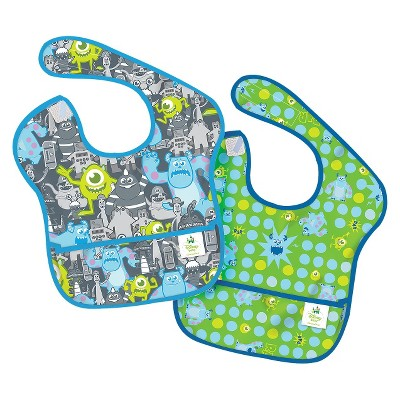 Bumkins Disney Baby Monsters, Inc 2k Waterproof SuperBib® Baby Bib Set - Gray and Green