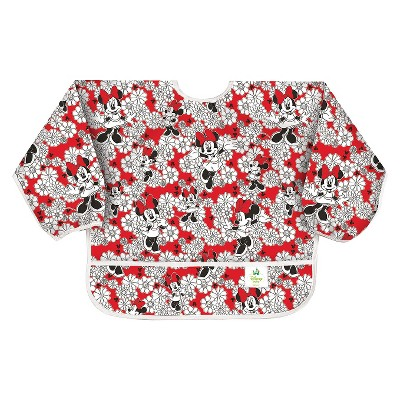 Bumkins Disney Baby Minnie Mouse Waterproof Sleeved Baby Bib - Red