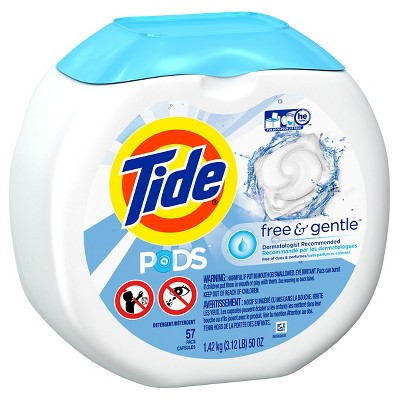 Tide Pods Free & Gentle Laundry Detergent Pacs 57 Count