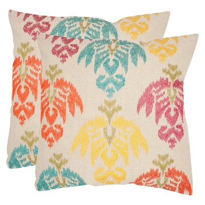 Safavieh 2-Pack Emboirdered Ikat Pillow - Multicolor Cool
