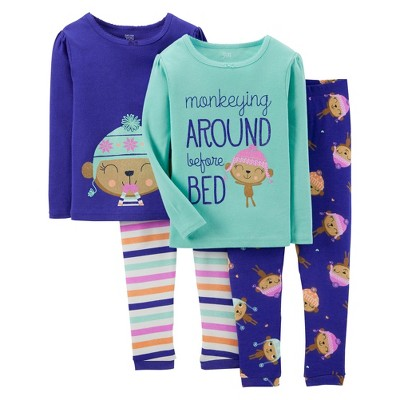 Just One You™ Made by Carter's Toddler Girls' 4-Piece Mix & Match Monkeying Around Pajama Set - Blue