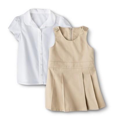 Cherokee® Toddler Girls' School Uniform Short-Sleeve Blouse and Jumper Set