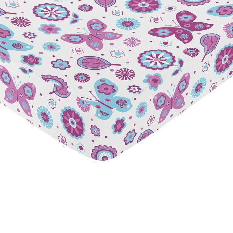 Sweet JoJo Designs Spring Garden Butterfly Fitted Crib Sheet - Turquoise, Purple, White