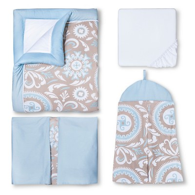 Ecom Crib Bedding Set Sweet Jojo Designs BLU WHT TAN