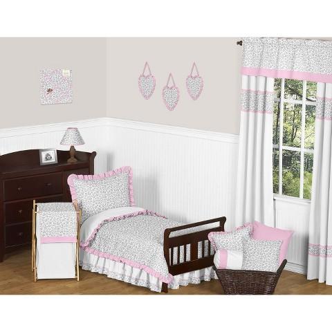 Sweet Jojo Designs 5pc Pink Kenya Toddler Bedding Set - Pink-Grey-White