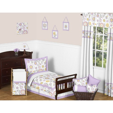 Sweet Jojo Designs 5pc Lavender Suzanna Toddler Bedding Set - Lavender-White-Grey-Yellow