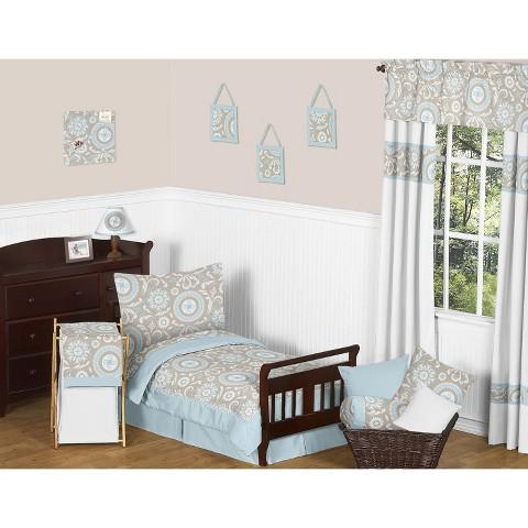 Sweet JoJo Designs 5pc Hayden Toddler Bedding Set - Blue, Taupe, White