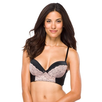 Women's Satin and Lace Longline Bra