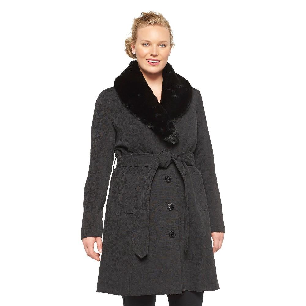 Women's Plus Size Black Duffel Coat- Merona