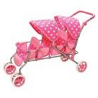"""Badger Basket Inline Quad 18"""" Doll Stroller - Pink Polka Dots"""