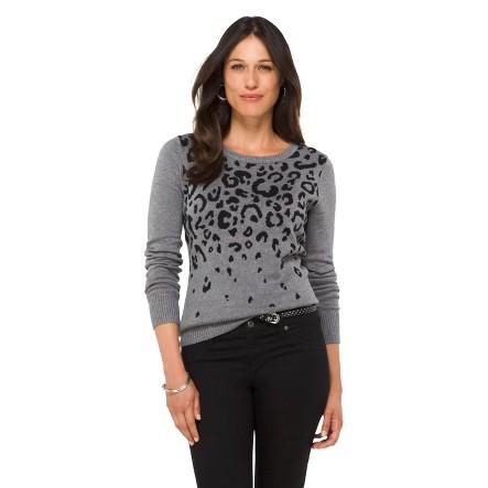 Printed Pullover Sweater Black Olive M - Merona