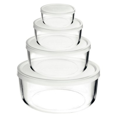 Bormioli Rocco Frigoverre 4 Piece Round Glass Food Storage Container Set