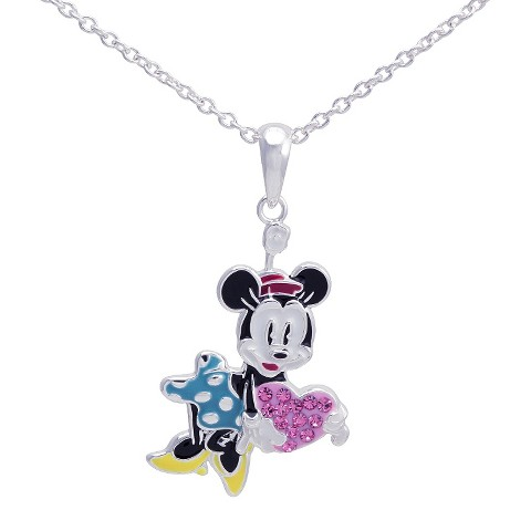 "Disney® Minnie Mouse Silver- Plated Pendant with Rose Pink Crystal Accent- Multicolor (18"")"