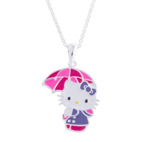 "Hello Kitty® Silver- Plated with Umbrella Pendant- Multicolor (18"")"