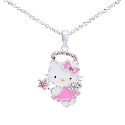 """Hello Kitty® Silver- Plated Angel Pendant with Clear & Rose Pink Crystal Accent - Multicolor (18"""")"""