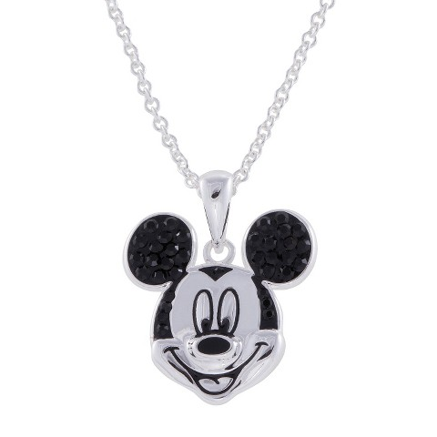 """Disney® Mickey Mouse Silver- Plated Pendant with Jet Black Crystal Accent- Multicolor (18"""")"""
