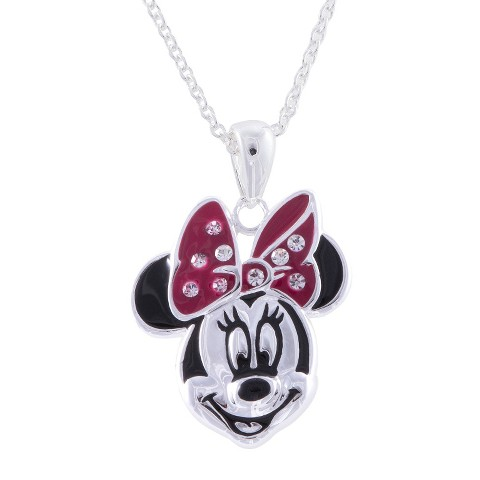 "Disney® Minnie Mouse Silver- Plated Pendant with Clear Crystal Accent- Multicolor (18"")"