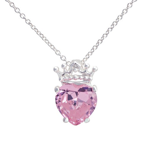 "Disney® Princess Silver- Plated Heart with Crown Pendant with Pink CZ- Multicolor (18"")"