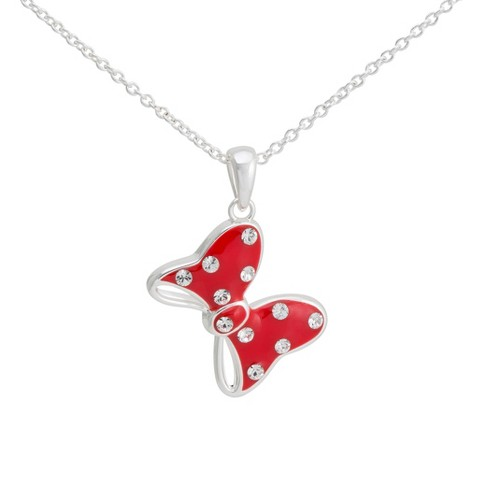 """Disney® Minnie Mouse Silver- Plated Bow Pendant with Clear Crystal Accent- Multicolor (18"""")"""