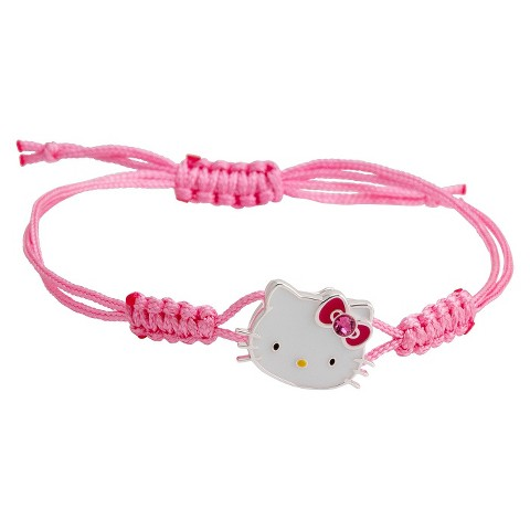 Hello Kitty® Silver- Plated Woven Bracelet with Rose Pink Crystal Accent - Multicolor