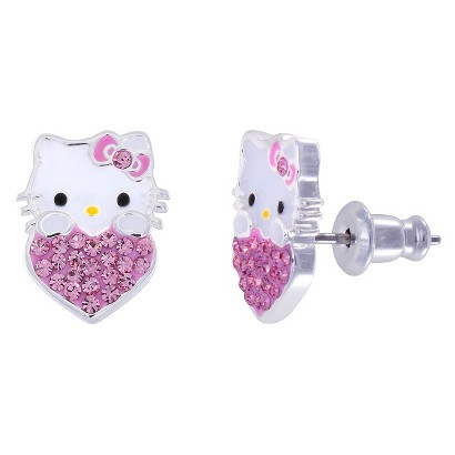 Hello Kitty® Silver- Plated Stud Earrings with Rose Pink Crystal Accent - Multicolor
