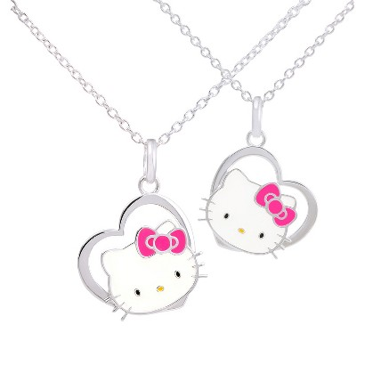 "Hello Kitty® Silver- Plated Heart Pendant Set- Multicolor (18"")"