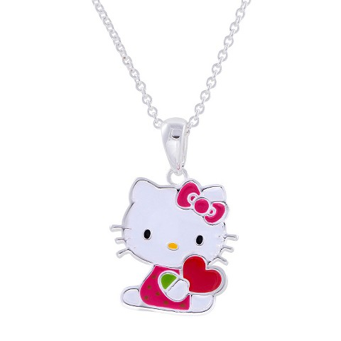 "Hello Kitty® Silver- Plated Heart Pendant- Multicolor (18"")"
