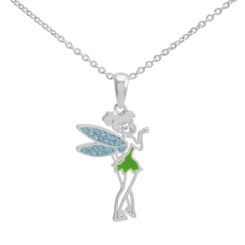 "Disney® Fairies Silver- Plated Tinkerbell Pendant with Blue Crystal Accent- Multicolor (18"")"