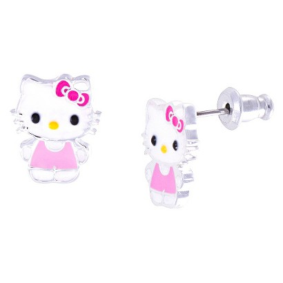 Hello Kitty® Silver- Plated Stud Earrings- Multicolor