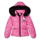 Hello Kitty Girls' Puffer Jacket with Faux Fur Hood