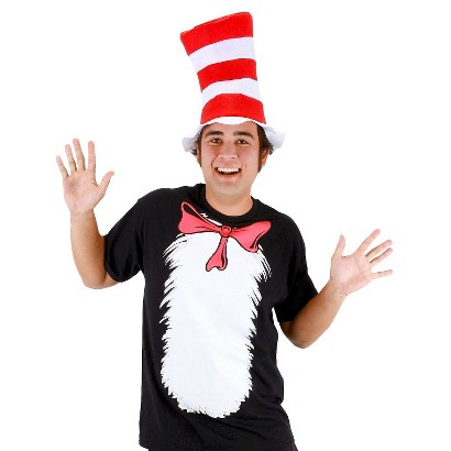 Image of Adult Cat in the Hat T-Shirt and Hat Costume