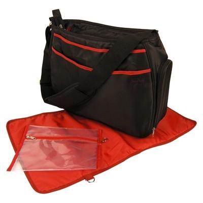 Trend Lab Hobo Diaper Bag - Black & Brick Red