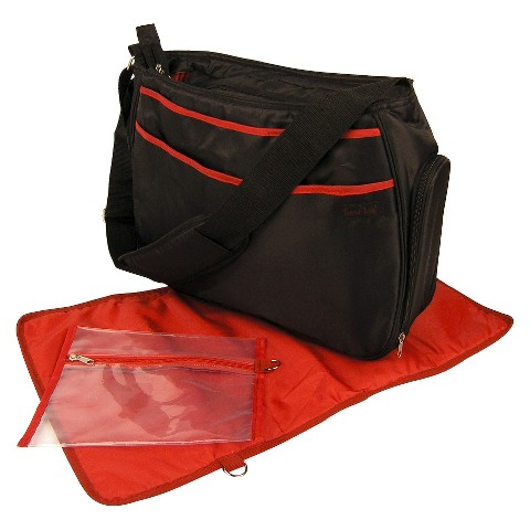 Trend Lab Hobo Diaper Bag - Black/Brick Red