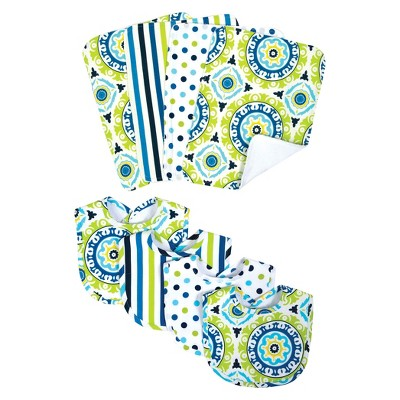 Trend Lab 8pc Baby Bib and Burp Cloth Set - Waverly Solar Flair