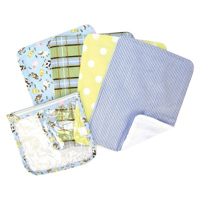Trend Lab 5pc Baby Burp Cloth and Pouch Set - Baby Barnyard