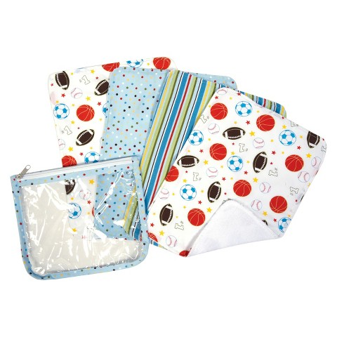 Trend Lab 5pc Baby Burp Cloth and Pouch Set - Little MVP