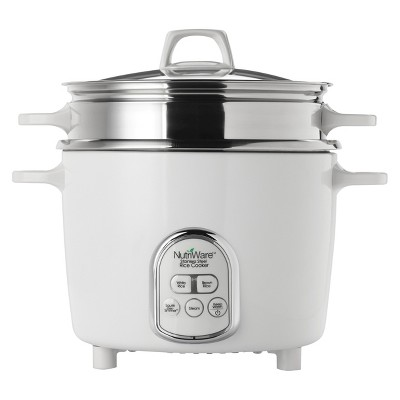 Aroma 20 Cup Rice Cooker  - White & Stainless Steel