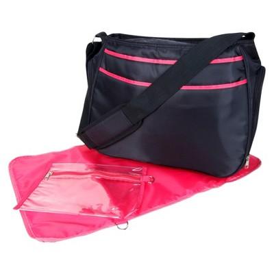Trend Lab Hobo Diaper Bag - Black & Fuschia