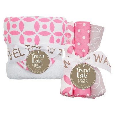 Trend Lab 6pc Baby Hooded Towel and Wash Cloth Set - Lily