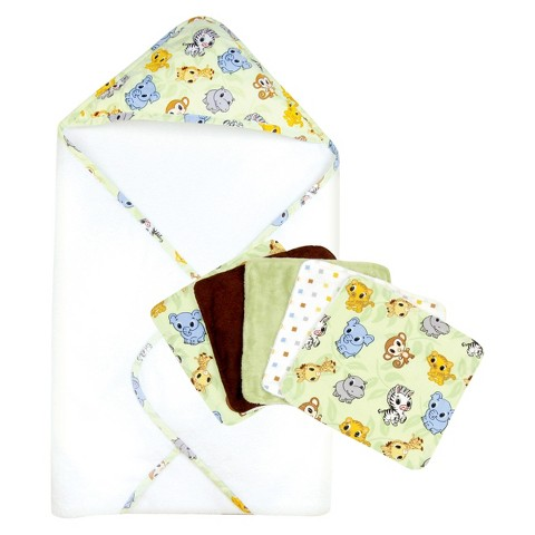 Trend Lab 6pc Baby Hooded Towel and Wash Cloth Set - Chibi