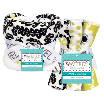 Trend Lab 6pc Baby Hooded Towel and Wash Cloth Set - Waverly Rise and Shine