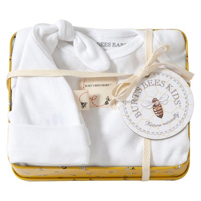 ECOM Burt's Bees Baby 153; Newborn Sleep N' Play and Hat Set with Tin - Cloud 3-6 M