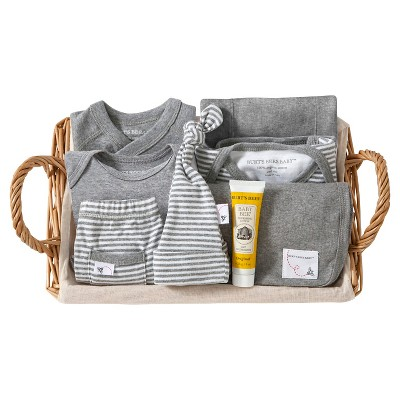 Burt's Bees Baby Organic Take Me Home Striped Gift Basket - Heather Grey 3-6 M