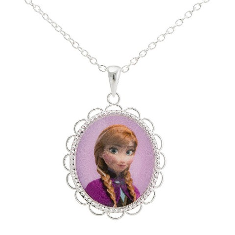 "Disney® Frozen Silver- Plated Princess Anna Pendant- Multicolor (18"")"