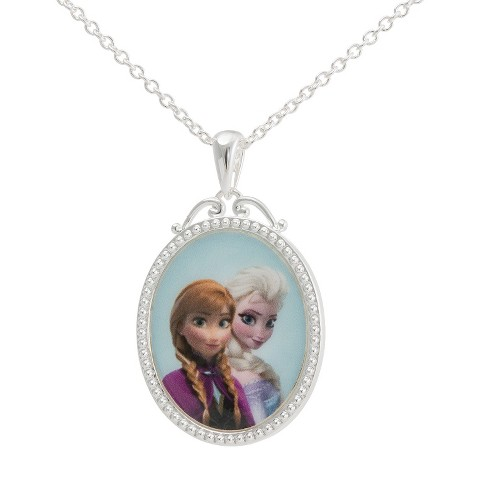 "Disney® Frozen Silver- Plated Princess Elsa & Anna Pendant- Multicolor (18"")"