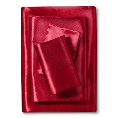 Scent-Sation Charmeuse II Satin Sheet Set - Red (Queen)