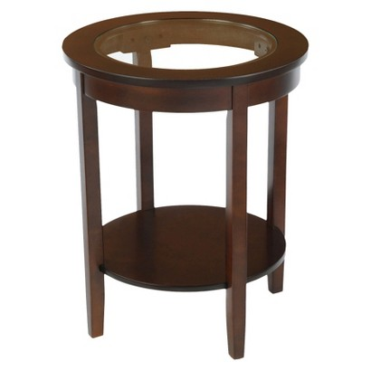 Bay Shore Collection Glass Top Round Accent Table Espresso
