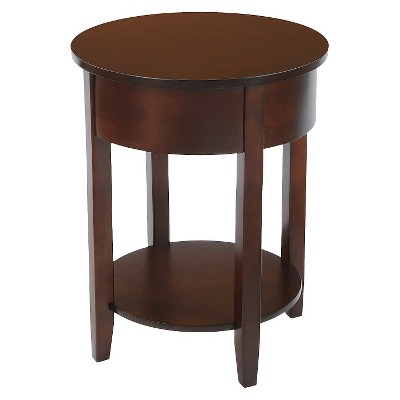Round Accent Table with Drawer Espresso - Bay Shore Collection