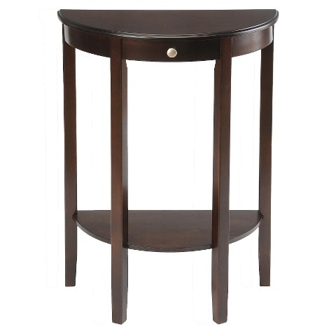 Half moon console table with drawer espresso b target - Half moon entry tables ...