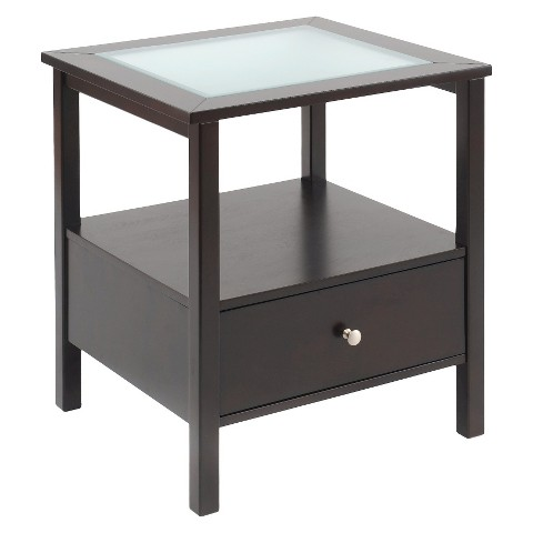 Bay Shore Collection Glass Top Accent Table with Drawer Espresso